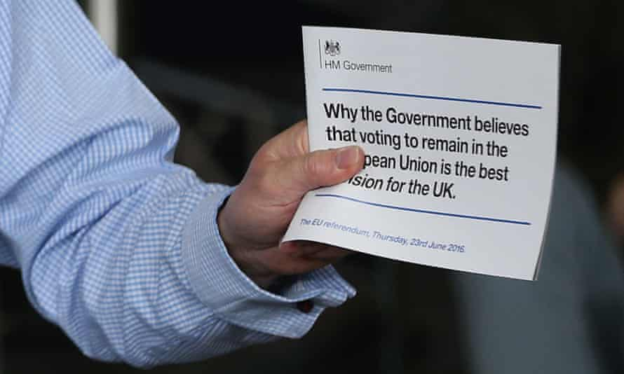 Prime Minister David Cameron holds a taxpayer-funded leaflet on the referendum setting out the case for Britain to remain in the European Union.