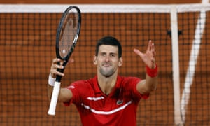 Novak Djokovic reacts after seeing off Stefanos Tsitsipas's brave fightback to set up a French Open final against Rafael Nadal.