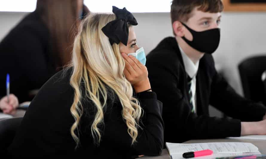 File photo of pupils wearing masks in class at a school in Manchester