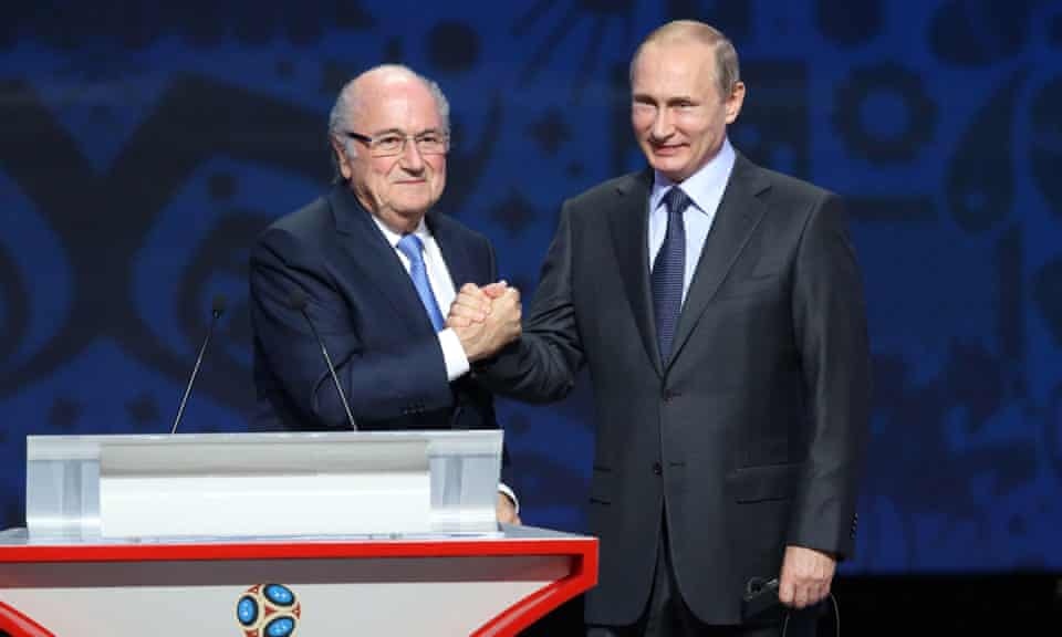 Sepp Blatter and Vladimir Putin ahead of the preliminary draw for the 2018 World Cup qualifiers in Saint Petersburg in July 2015.