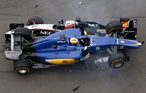 Ericsson and Perez crash during the start.