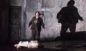Leah Crocetto (Desdemona) and Stuart Skelton (Otello) in Otello by Verdi @ London Coliseum. An English National Opera production. Director, David Alden.