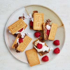 Ruby Tandoh's malted milk and raspberry s'mores.