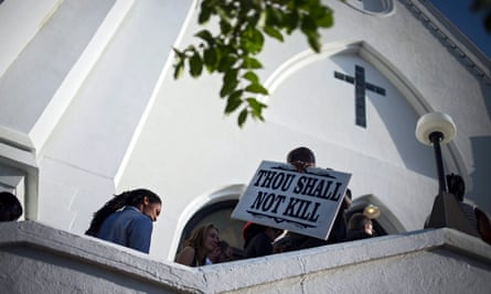 People arrive for Sunday services at the Mother Emanuel AME church in Charleston, South Carolina after a shooting.