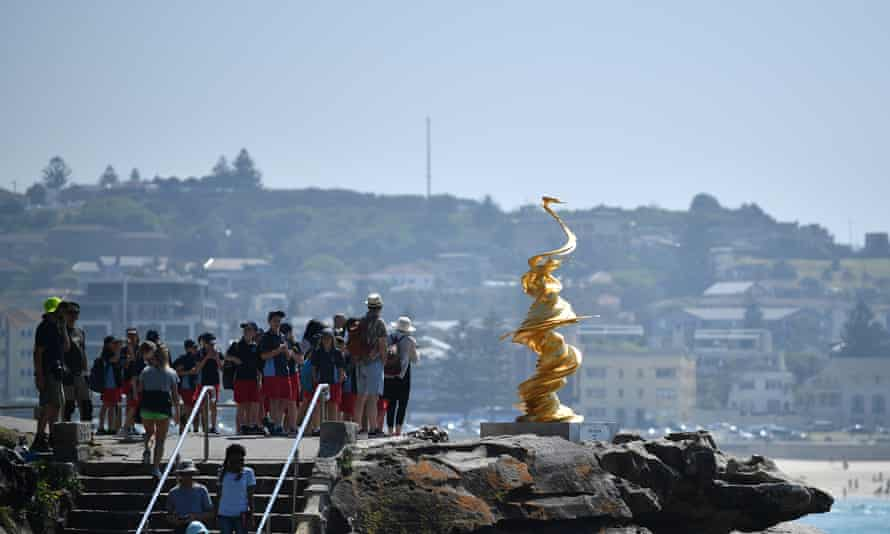 The Statue of Mad Liberty sculpture by Wang Kiafang is exhibited along the Bondi to Tamarama coastal walk as part of the Sculpture by the Sea exhibition in 2019.