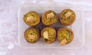 Pork pies topped with piccalilli