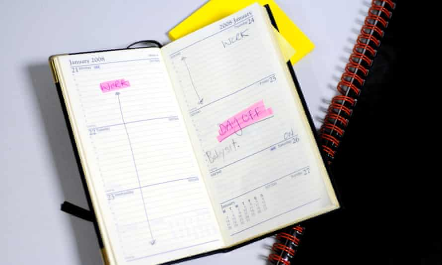 A diary shows a day off and babysitting appointment