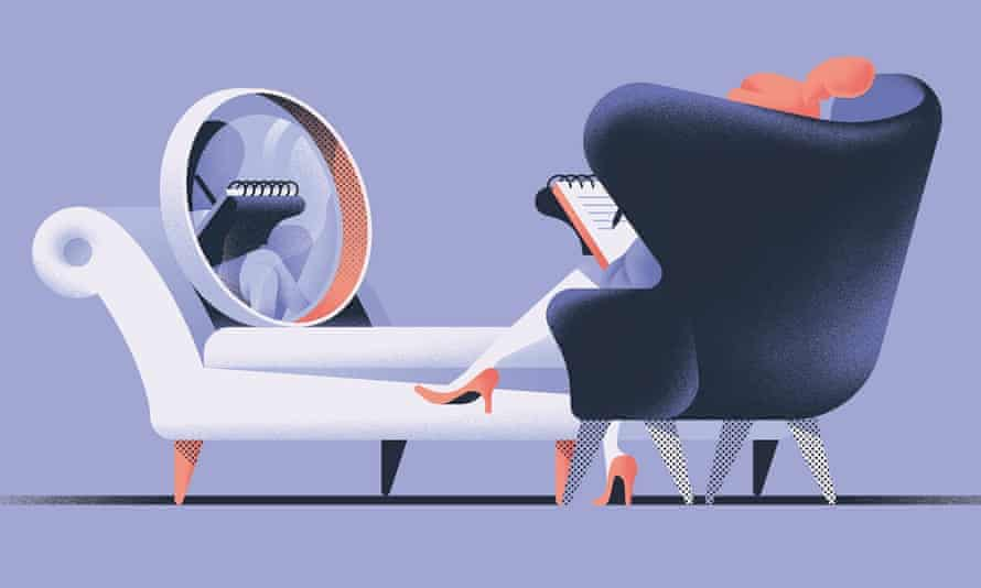 Illustration of mirror on couch and woman in chair by Michele Marconi