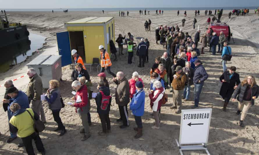 Residents of Marker Wadden, in the Netherlands, queuing to vote.