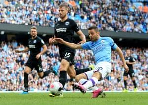 Manchester City's Bernardo Silva scores their fourth goal.