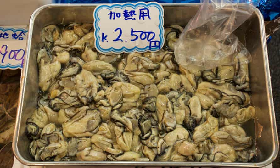 Oysters for sale at Tsukiji market in Tokyo.