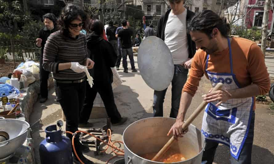 Navarinou Park hosts a 'community kitchen event' in 2011, organised to help out those hit hardest by the financial crisis.