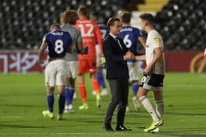 Fulham Manager Scott Parker congratulates Tom Cairney as they make the play-off final.