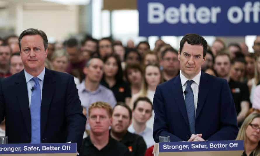 David Cameron (left) and George Osborne make a speech during the Brexit referendum in 2016.