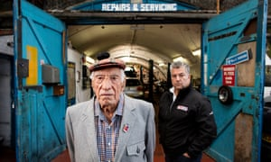 George Grant (right) with his father Ronnie, who started his car business 60 years ago in Clapham's railway arches. They featured in a recent Guardian story after setting up an action group called Guardians of the Arches
