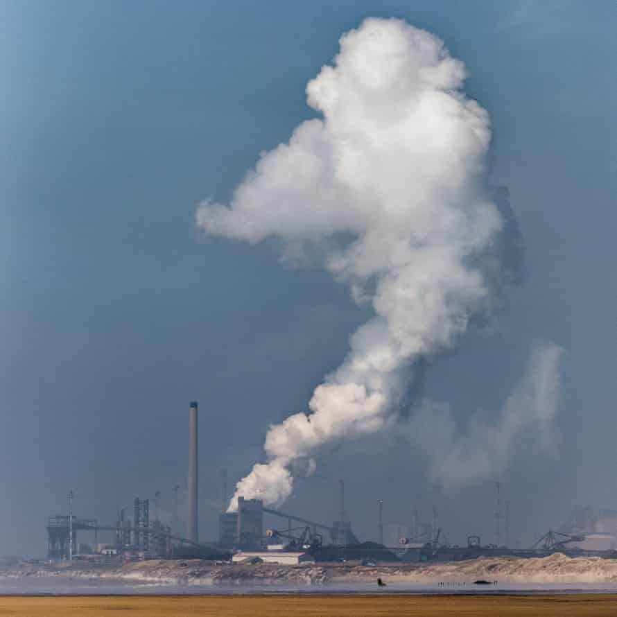 Steam plume, Tata Steelworks in Port Talbot, seen from Kenfig Sands, Glamorgan.
