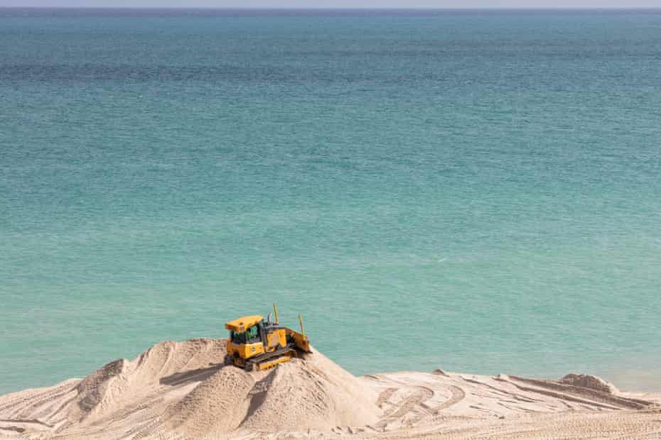 Federally funded imported sand is used as one of mitigation measures against climate change. This segment is at 67th st in Miami Beach.
