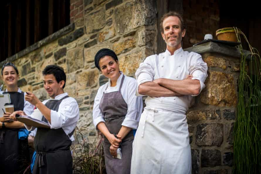 Dan Barber, chef and co-owner of Blue Hill in Manhattan and Blue Hill at Stone Barns in Pocantico Hills, New York, holds a staff meeting before the night's service begins. 10/3/18 Photograph by Ali Smith