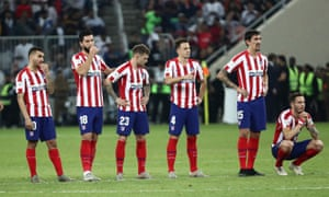 Atletico Madrid players during the penalty shootout.