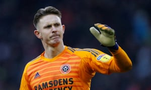 Dean Henderson reacts after his error costs Sheffield United a point.