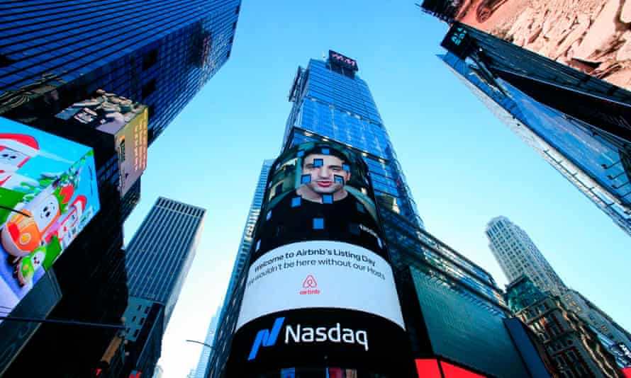 The Airbnb logo displayed on the Nasdaq digital billboard in Times Square. Airbnb now has over 7m short-term listings worldwide.