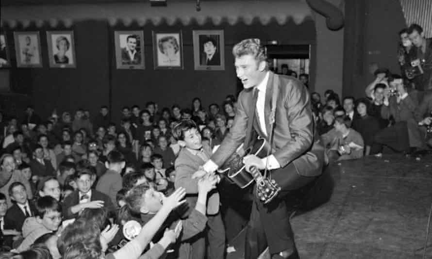 Johnny Hallyday on stage at the Olympia music hall in Paris, 1962.
