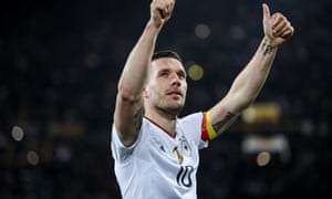 Germany v England - International Friendly<br>DORTMUND, GERMANY - MARCH 22:  Lukas Podolski of Germany celebrates his last match with the national team  and with the supporters following the international friendly match between Germany and England at Signal Iduna Park on March 22, 2017 in Dortmund, Germany. (Photo by Maja Hitij/Bongarts/Getty Images)
