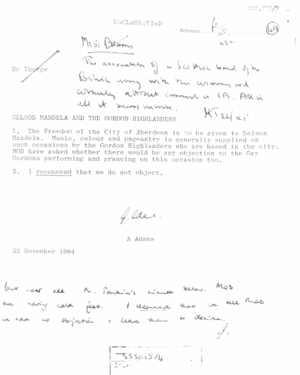 Foreign Office letter about Nelson Mandela and the Gordon Highlanders.