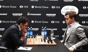 World Chess Championship Magnus Carlsen (R) plays against US challenger Fabiano Caruana