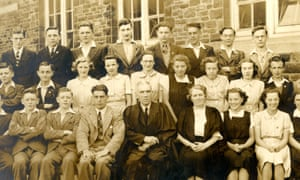 Burton (back row, third from left), then Richard Jenkins, at Port Talbot School in 1940