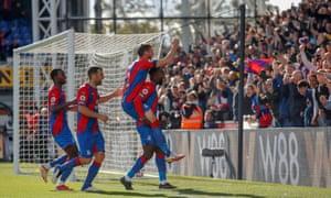 Crystal Palace's Jeff Schlupp celebrates after scoring.