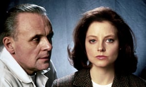 Anthony Hopkins looking at Jodie Foster