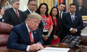 Donald Trump signs an executive order Tuesday on establishing the Task Force on Missing and Murdered American Indians and Alaska Natives.