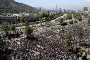 Demonstrators gather during a protest against Chile's state economic model