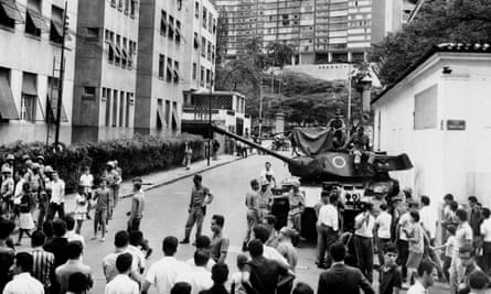 Brazilian army tanks stand in Rio de Janeiro on 1 April 1964 during the military push that led to the overthrow of president João Goulart.