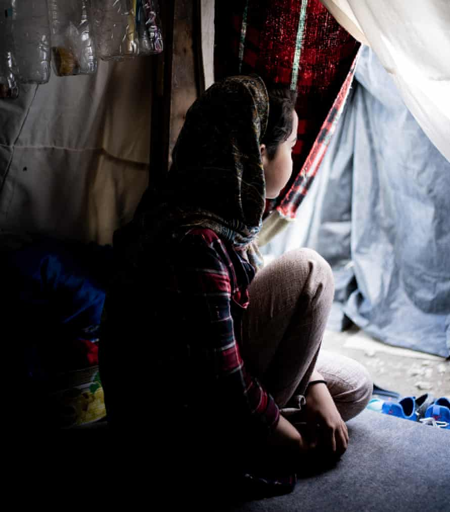 """Zayneb, 15; """"We don't have a life here. We are just surviving. I wake up every night. I can't sleep. I had my first day at the School of Peace yesterday. These activities distract me."""""""