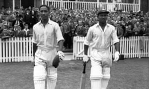 West Indies cricketers Frank Worrell, left, and Everton Weekes resume their record-making innings against England at Trent Bridge in January 1950.