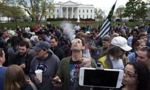 Marijuana smoke-in protest at the White House In Washington.
