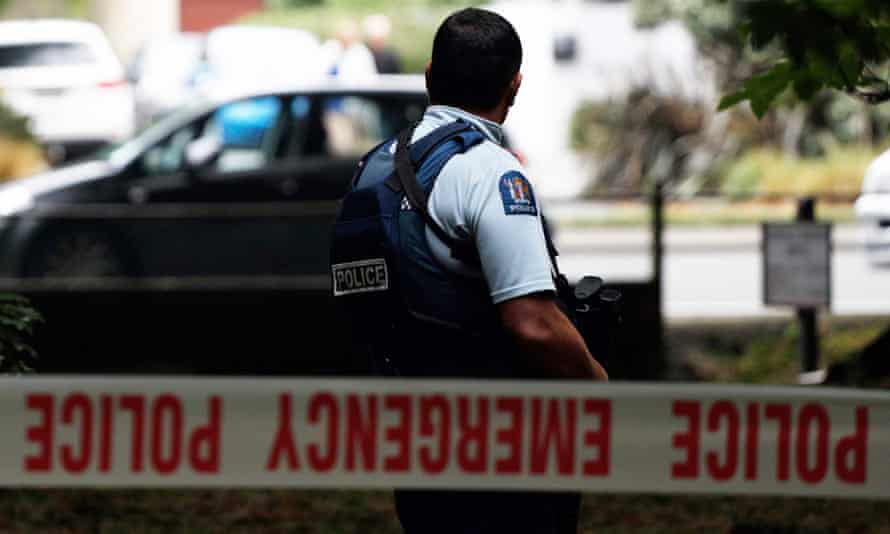 A police officer secures the area in front of the Masjid al Noor mosque after the Christchurch shooting