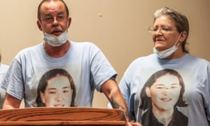 William Long speaks after witnessing the federal execution of Wesley Ira Purkey for the murder of his daughter, Jennifer, as Olivia Long listens, in Terre Haute, Indiana, on 16 July.