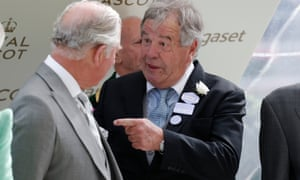Sir Michael Stoute jokes with the Prince of Wales after he won the Prince of Wales' Stakes at Royal Ascot in 2018.