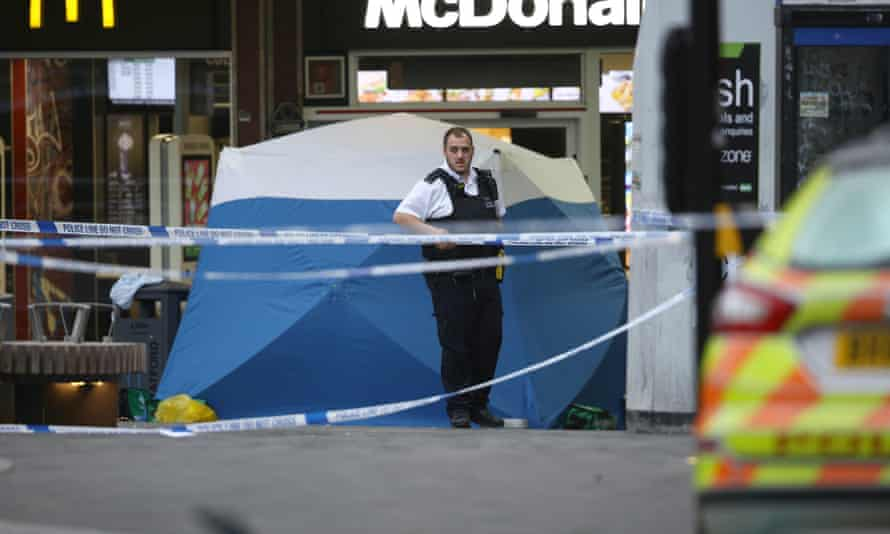 Police in Stratford following the stabbing death of 15-year-old Baptista Adjei on Thursday.