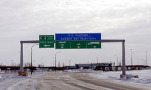 The Canadian side of the Canada-US border crossing is seen in Emerson, Manitoba.