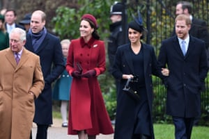 Sandringham, UK Prince Charles, Prince William, Catherine, Duchess of Cambridge, Meghan, Duchess of Sussex and Prince Harry arrive for the royal family's traditional Christmas Day service at St Mary Magdalene Church