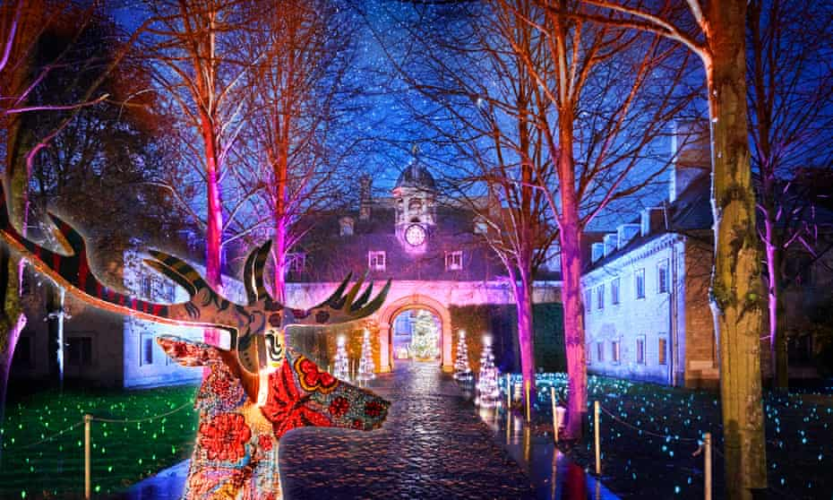 Lighting-up time: enjoy a mile-long trail with giant baubles and glowing flowers at Belton House in Lincolnshire.