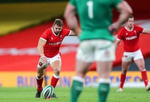 Wales' Leigh Halfpenny kicks a penalty.