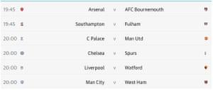 Premier League matches