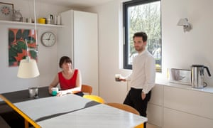 'We didn't want a Victorian terrace and couldn't afford one round here': Anita and Johan in the kitchen.