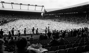 The Anfield pitch covered in flowers one week after the Hillsborough disaster.