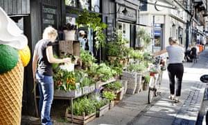 Street in Vesterbro, Copenhagen with cyclist